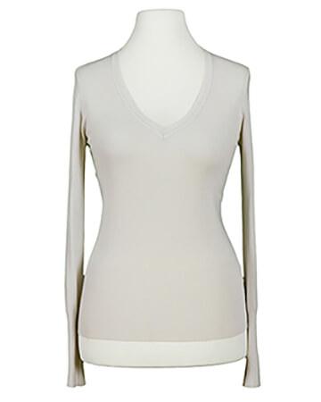Basic Pullover V Ausschnitt, beige