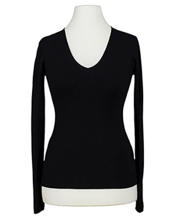 Basic Pullover V Ausschnitt, schwarz (Bild 1)