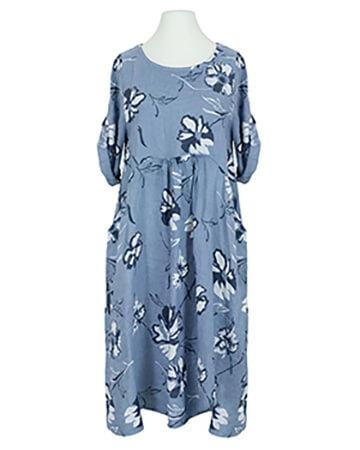 Blumen Leinenkleid, blau