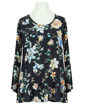 Bluse Blumenmuster, schwarz