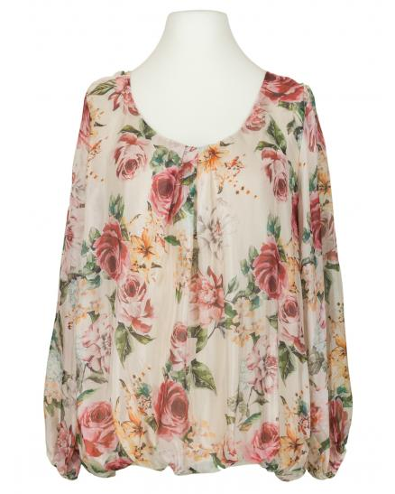 Bluse Floral mit Seide, beige