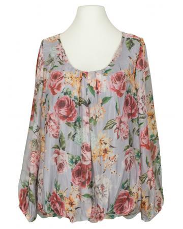 Bluse Floral mit Seide, grau