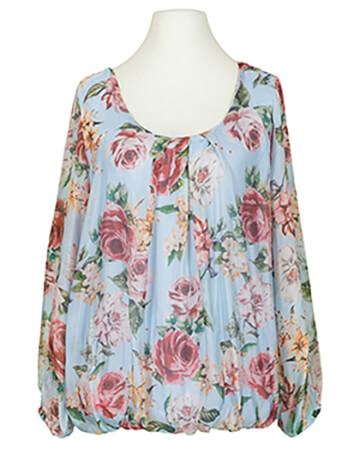 Bluse Floral mit Seide, hellblau