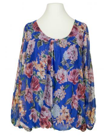Bluse Floral mit Seide, royalblau