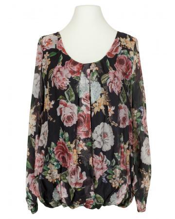 Bluse Floral mit Seide, schwarz