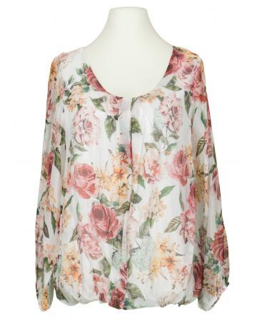 Bluse Floral mit Seide, weiss