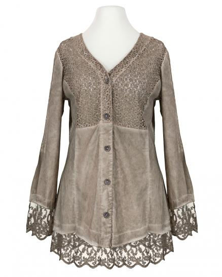 Bluse mit Spitze, taupe