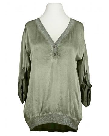 Blusenshirt mit Glitzergarn, khaki