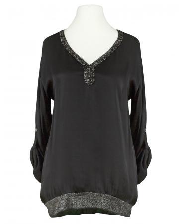 Blusenshirt mit Satin, schwarz (Bild 1)