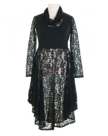 Chasuble Kleid aus Spitze, schwarz