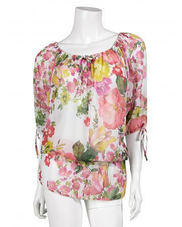 Chiffon Bluse, rosa multicolor