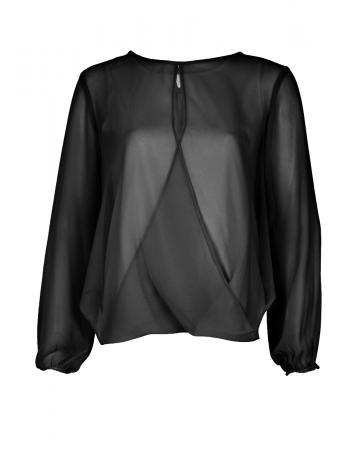 Chiffon Bluse, schwarz (Bild 1)