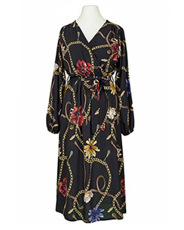 Chiffon Kleid Wickeloptik, schwarz