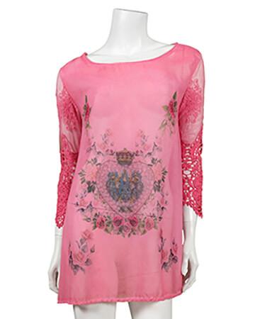 Chiffon Tunika mit Print, pink (Bild 1)