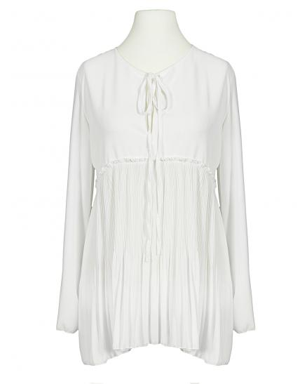 Chiffonbluse Plissee, weiss