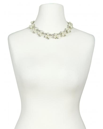 Collier mit Perlen, ecru