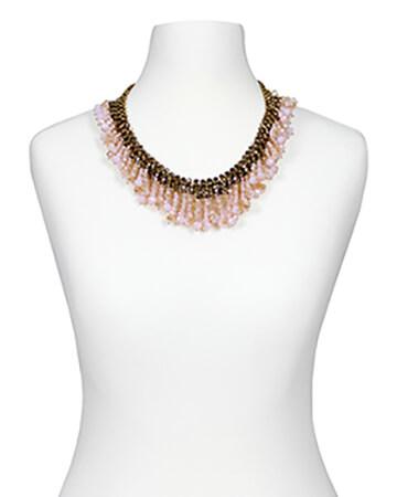 Halskette mit Rosenquarz Kristallen