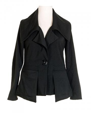 Jerseyjacke tailliert, schwarz (Bild 1)