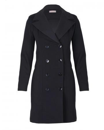 Jersey Blazer Mantel, schwarz