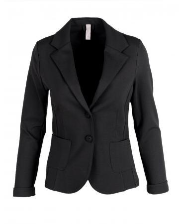 Jersey Blazer tailliert, schwarz