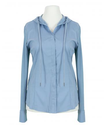 Jersey Bluse mit Kapuze, eisblau