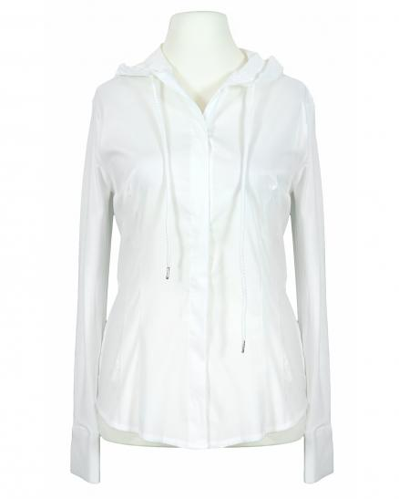 Jersey Bluse mit Kapuze, weiss