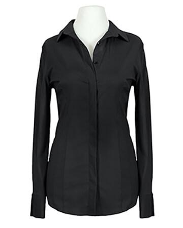 Jersey Hemdbluse, schwarz