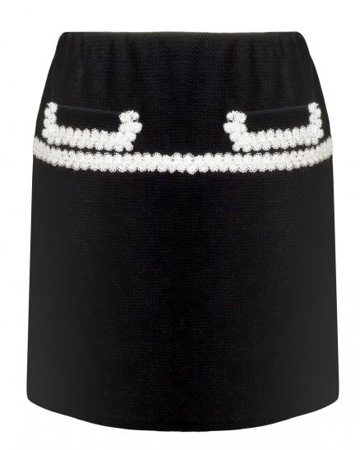 Jerseyrock mit Spitze, schwarz (Bild 1)