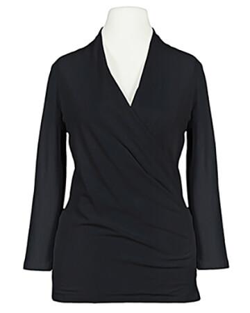 Jersey Shirt Wickeloptik, schwarz