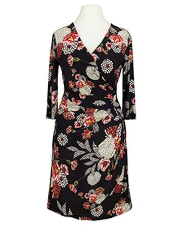 Jerseykleid Blumenmuster, schwarz