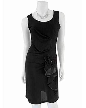 Damen Jerseykleid mit Volant, schwarz