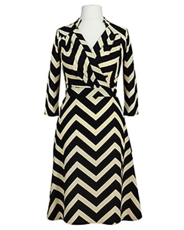 Jerseykleid Streifen, schwarz creme