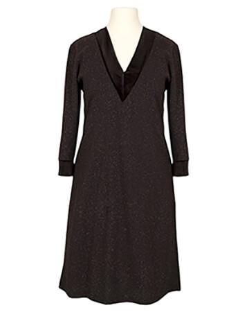 Jerseykleid V-Ausschnitt, schwarz