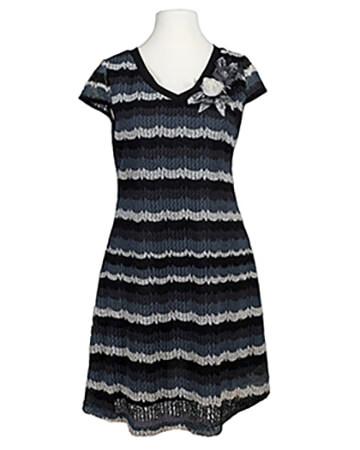 Kleid Ajourstrick, schwarz grau