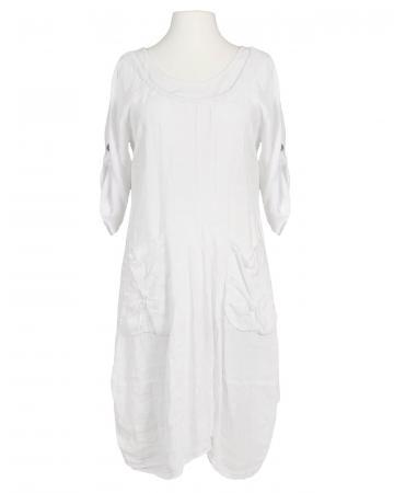 Kleid A-Form Leinen, weiss