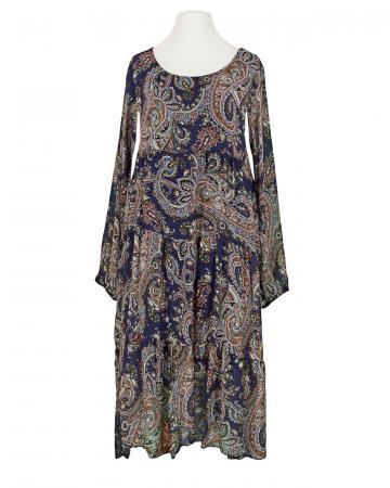 Kleid A-Linie mit Seide, blau