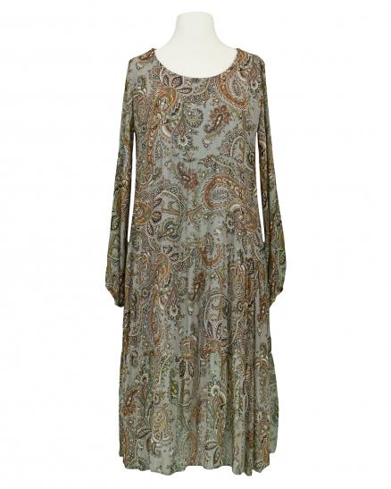 Kleid A-Linie mit Seide, grau