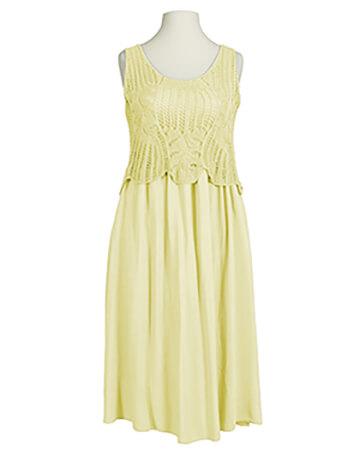 Kleid Ajourstrick, gelb