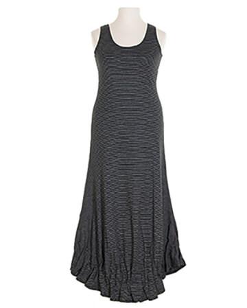 Jerseykleid lang, schwarz weiss