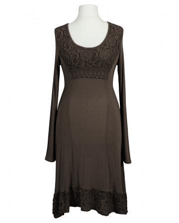 Kleid mit Spitze, braun