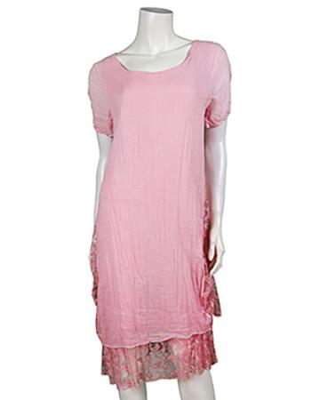 Kleid mit Spitze, rosa (Bild 1)