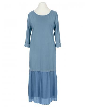 Kleid Seidenvolant, jeansblau