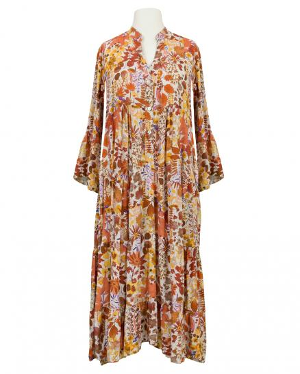 Kleid Viskose Floral, orange