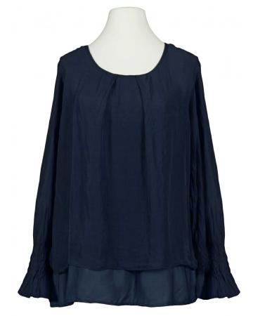 Lagenlook Bluse mit Seide, dunkelblau (Bild 1)