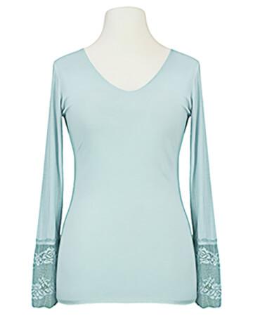 Langarm Shirt mit Spitze, blau