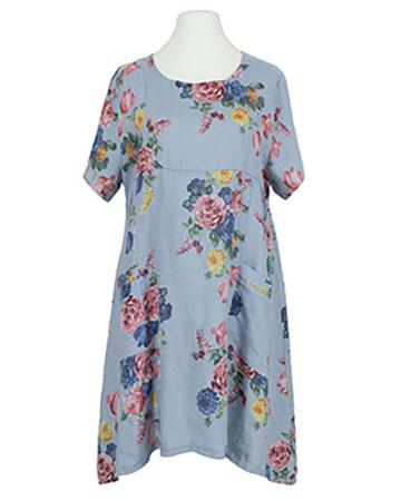 Leinen Tunikakleid floral, blau