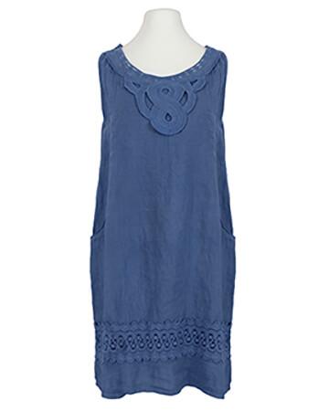 Leinenkleid mit Baumwollspitze, blau