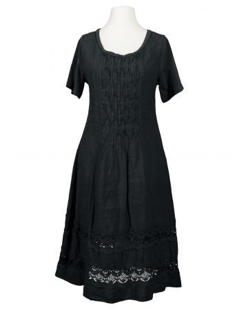 Leinenkleid mit Spitze, schwarz