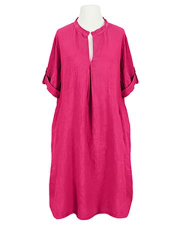 Leinenkleid Stehkragen knielang, pink