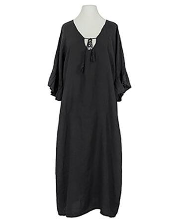 Leinenkleid Volantarm, schwarz